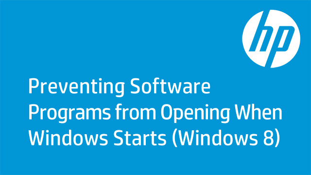 Preventing Software Programs from Opening when Windows Starts (Windows 8)