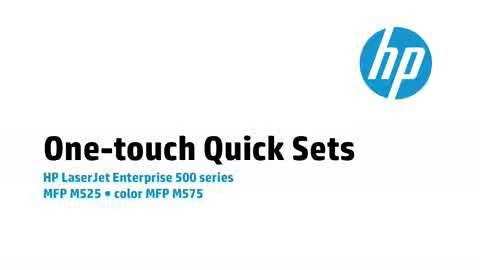 13 - M575/M525: One-touch Quick Sets