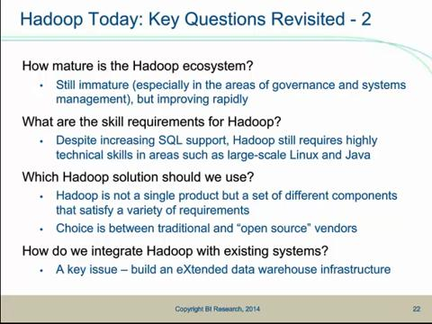 The Role of Hadoop in BI and Data Warehousing
