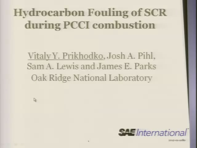 Hydrocarbon Fouling of SCR During PCCI Combustion