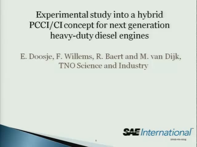 Experimental Study into a Hybrid PCCI/CI Concept for Next-Generation Heavy-Duty Diesel Engines