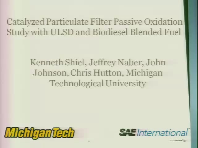 Catalyzed Particulate Filter Passive Oxidation Study with ULSD and Biodiesel Blended Fuel
