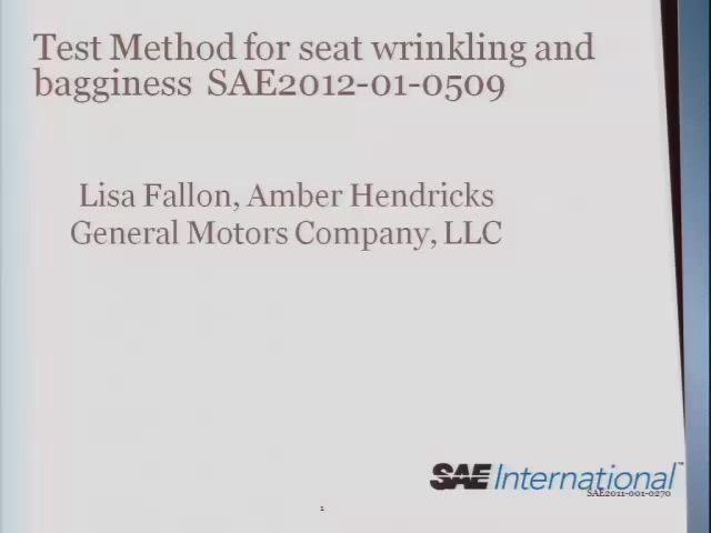 Test Method for Seat Wrinkling and Bagginess
