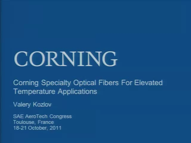 Corning Specialty Optical Fibers for Elevated Temperature Applications