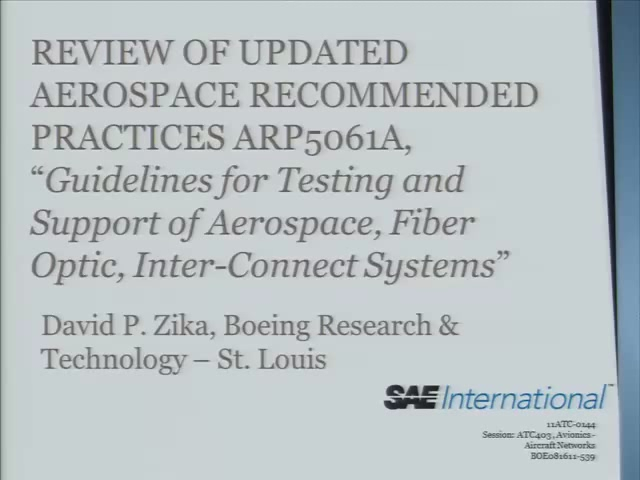 Review of Updated Aerospace Recommended Practices ARP5061A,