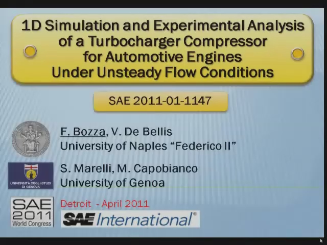 1D Simulation and Experimental Analysis of a Turbocharger Compressor for Automotive Engines under Unsteady Flow Conditions
