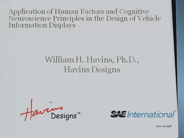 Application of Human Factors and Cognitive Neuroscience Principles in the Design of Vehicle Information Displays