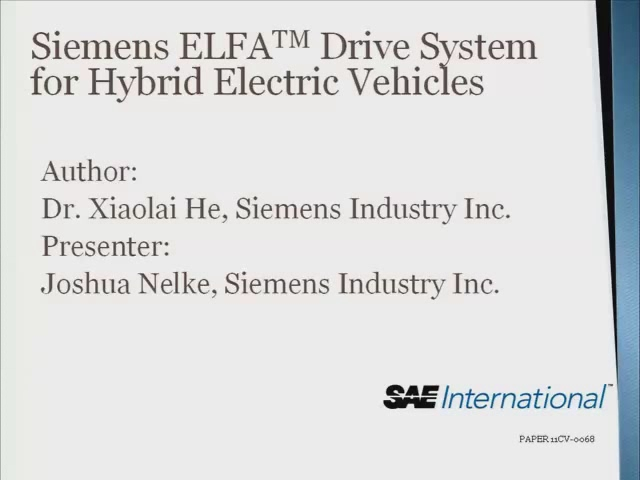 Siemens ELFA Drive System for Hybrid Electric Vehicles