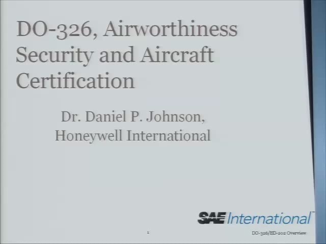 RTCA DO-326: Airworthiness Security and Aircraft Certification