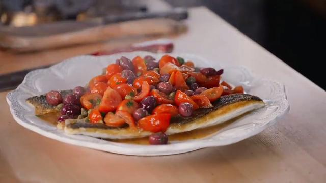 Giada In Italy - Pan-Seared Branzino with Tomato and Capers
