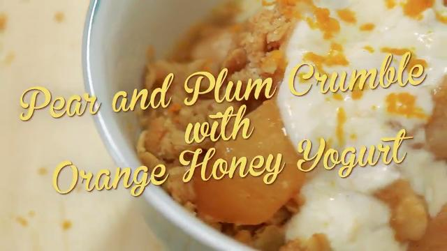 Pear and Plum Crumble with Orange Honey Yogurt | Debbie's Desserts