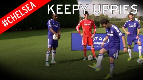 Chelsea stars do the keepy uppy challenge