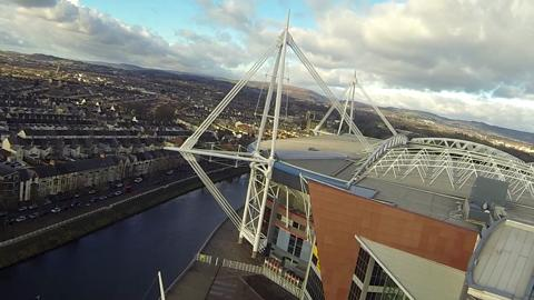 View from the jib of a crane as it works in Cardiff.