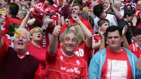 Video: Boro fans inside Wembley Stadium