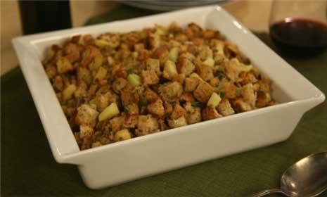 Watch us make a healthy Thanksgiving stuffing