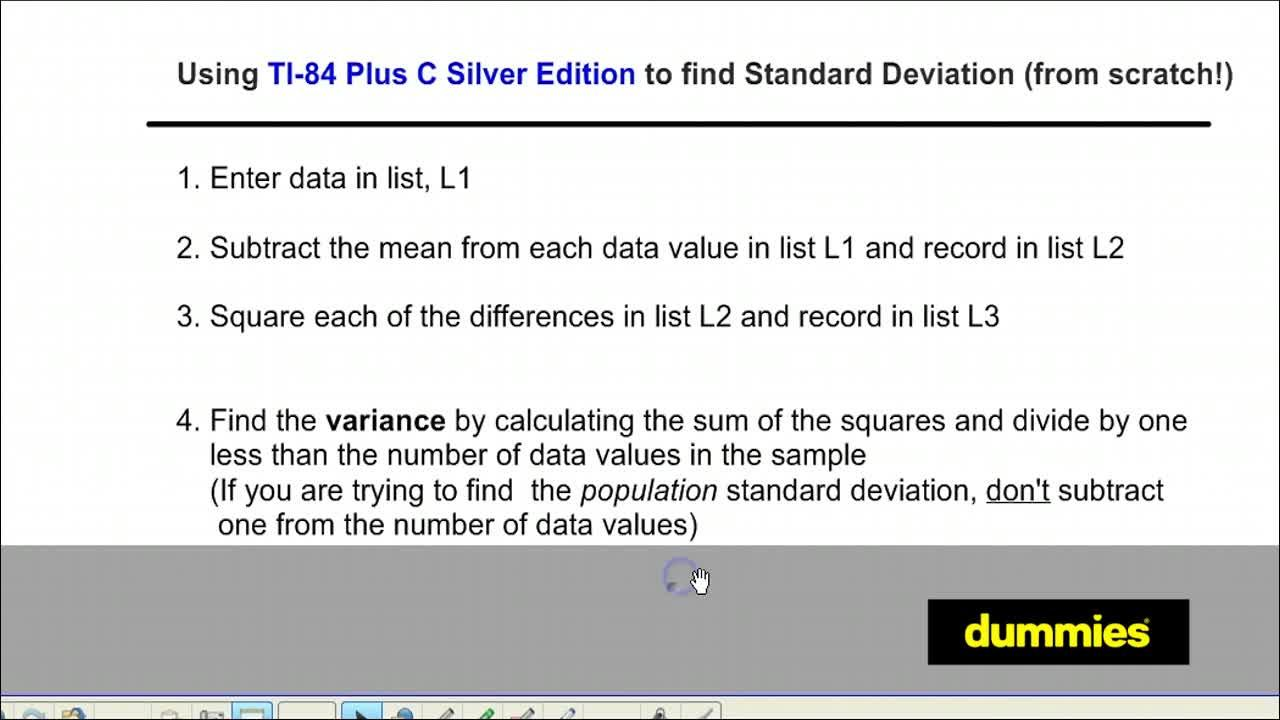 How To Find The Standard Deviation Of A Data Set On The Ti84 Plus Dummies