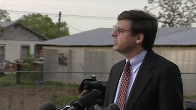 Merrick Garland speaks at a press conference in Oklahoma City in 1995