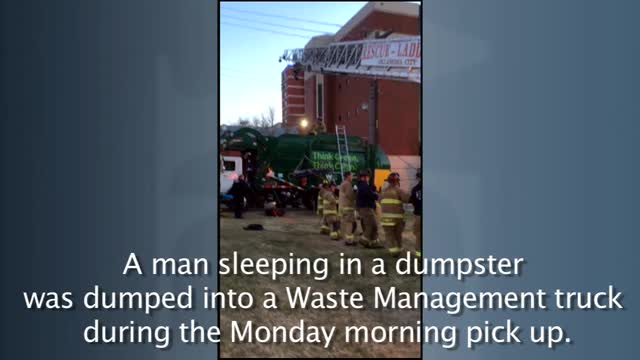 Man rescued from dumpster