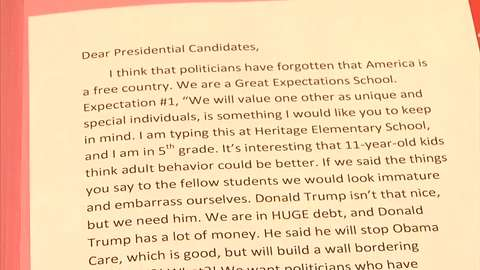 Dear Future President: Edmond fifth-graders have advice for the candidates