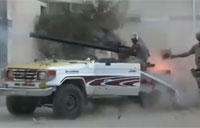 Libyan Rebel Tank Truck Backfire!