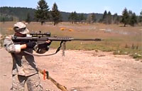 Soldier Fires Barrett .50 cal Standing
