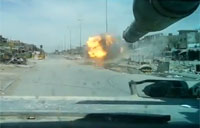 Tank Detonates IED in Sadr City, Iraq