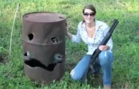 Girl Makes Shotgun Smiley Face