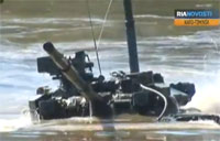 T-90 Tanks Drive Five Meters Underwater