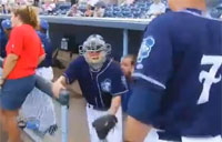 Dad Surprises Kids Behind Home Plate!