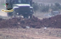 IED Wrecks Syrian Transport Truck