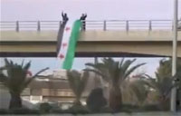 FSA Attacked Draping Flag on Bridge