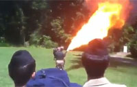 Marine Gives Flamethrower Demo