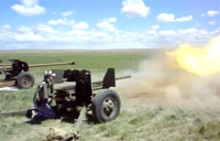 Firing the 57mm Towed Antitank Gun