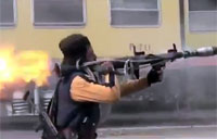Syrian Rebel RPG Bursts Into Flames