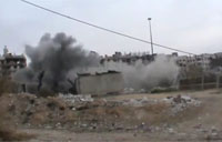 Tank Hit by Roadside Bomb in Damascus