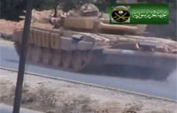 Syrian Army Tank Rolls Over IED