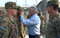 Chuck Hagel Presents Purple Hearts