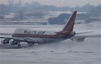 Classic 747 Snow Plow Takeoff