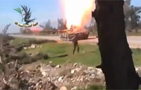 Syrian Rebels Spark Up SAA Tank