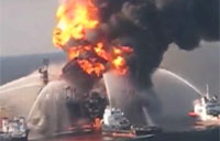 Burning Oil Rig Sinks in Gulf