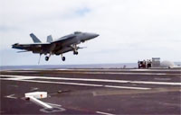 Navy F-18 Makes Arrested Landing