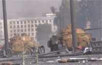 Syrian Army Tanks Drive By Firing
