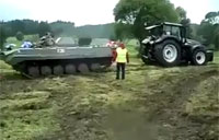 Tank vs. Tractor Pull of War!