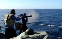 Test Firing the Minigun at Sea