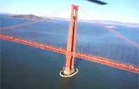 Helo Flies Under Golden Gate Bridge