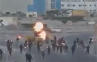 Bahraini Rebels Torch Armored Car