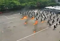 Korean Riot Police Use Ancient Tactics