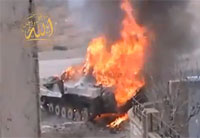 Syrian BMB Erupts in Flames