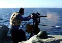 Navy Seals Test Fire Minigun at Sea