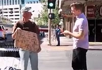Magician Tears Up Homeless Veteran's Sign